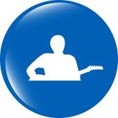Guitarist web icon button isolated on white — Stock Photo
