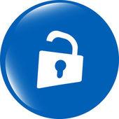 Padlock icon web sign. Rounded button isolated on white background — Stockfoto