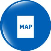 Map icon web button isolated on white background — Stock Photo