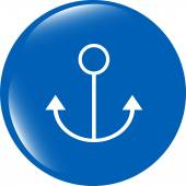 Sea anchor sign on web icon (button) isolated on white — Stock Photo
