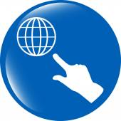 Internet sign icon with people hand. World wide web symbol. Circles buttons — Stock Photo
