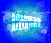 Management concept: business alliance words on digital screen — Stock Photo