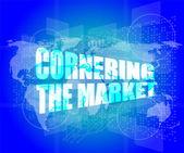 Management concept: cornering the market words on digital screen — Стоковое фото