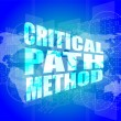 Critical path method words on digital screen with world map — Stock Photo #57400071