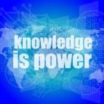 Educación y aprender el concepto: palabras el conocimiento es poder en la pantalla digital — Foto de Stock   #57402467