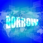 Pixeled financial background on digital screen - borrow — Stock Photo #57403249