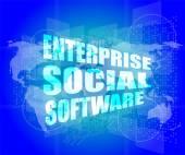 企業向けソーシャル ソフトウェア インターフェイス技術、タッチ スクリーン — ストック写真