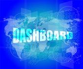 Dashboard word on digital binary touch screen — Stock Photo