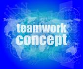 Teamwork concept - business growth on touch screen — Stock Photo