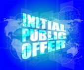Initial public offer on digital touch screen — Stock Photo