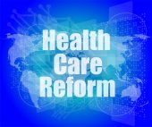 Health care reform word on touch screen, modern virtual technology background — 图库照片