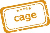 Cage on rubber stamp over a white background — Stock Photo