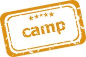 Camp on rubber stamp over a white background — Stock Photo