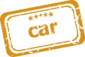 Car on rubber stamp over a white background — Stock Photo