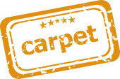 Carpet on rubber stamp over a white background — Stock Photo