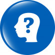 Human head with question mark symbol, web icon — Stock Photo #57707813