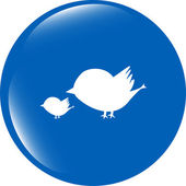 Glossy isolated website and internet web icon with bird family sign — Foto de Stock
