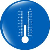 Thermometer web icon button isolated on white background — Stock Photo