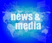 News and press concept: words News and media on digital screen — Stock Photo