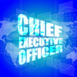 Chief executive officer words on digital screen background with world map — Stockfoto #57758231