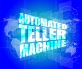 Automated teller machine word on digital touch screen — Stock Photo