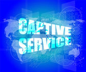 Captive service words on digital touch screen and world map — Stock Photo