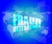 Management concept: fraud deterrence words on digital screen — Stock Photo