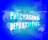 Purchasing department words on digital screen with world map — Stock Photo