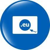Domain EU sign icon. Top-level internet domain symbol with cursor pointer — Stock Photo
