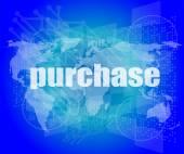 Palabras en la interfaz de pantalla táctil digital - concepto del negocio de la compra — Foto de Stock