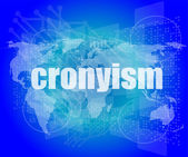 Words cronyism on digital screen, business concept — Stock Photo