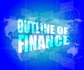 Outline of finance words on digital touch screen interface — Stock Photo
