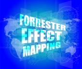Management concept: forrester effect mapping words on digital screen — Foto Stock