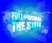 Following the sun on digital touch screen, 3d — Stock Photo