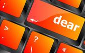 Dear button on computer pc keyboard key — Stock Photo