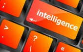 Close up view on conceptual keyboard - intelligence — Stock Photo