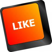 A like message on enter keyboard key for social media concepts — Stock Photo