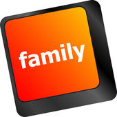 Family Key On Keyboard Meaning Relatives Relations Or Blood Relation — Stock Photo