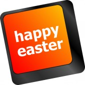 Happy Easter text button on keyboard — Stock Photo