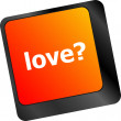 Love with question sign button word on keyboard keys — Stock Photo #57948673