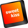 Sweet kiss words showing romance and love on keyboard keys — Stock Photo #57948949