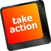 Tome acción llave en un teclado de computadora, concepto de negocio — Foto de Stock