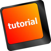 Tutorial or e learning concept with key on computer keyboard — Stock Photo