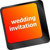 Wedding invitation word button on keyboard key — Stock Photo