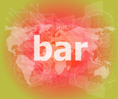 Bar, hi-tech background, digital business touch screen — Stock Photo