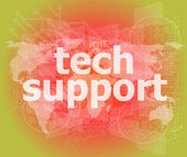 Tech support word on a touch screen interface — Stock Photo
