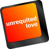 Unrequited love on key or keyboard showing internet dating concept — Stock Photo