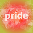 The word pride on business digital screen — Stock Photo #58447241