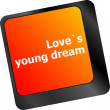 Love s young dream on key or keyboard showing internet dating concept — Stock Photo #58448705