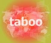 Koncepcja bezpieczeństwa: słowa tabu jest marketing na cyfrowy ekran — Zdjęcie stockowe